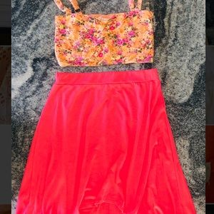 Two piece high low skirt set
